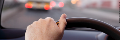 Hand on wheel